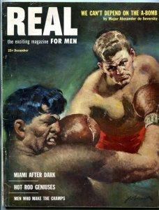 Real Magazine December 1952- Boxing cover- Al Capp- Hot Rod Geniuses
