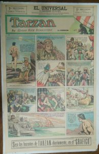 Tarzan Sunday Page #626 Burne Hogarth from 3/7/1943 in Spanish! Full Page Size