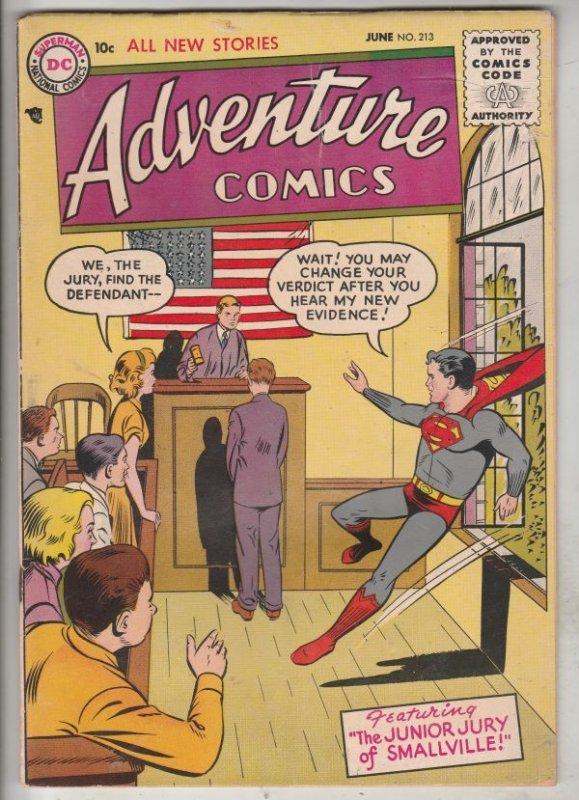 Adventure Comics #213 (Jun-55) VG/FN+ Mid-Grade Superboy, Green Arrow, Speedy...