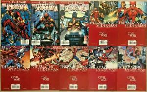 AMAZING SPIDER-MAN#529-538 VF/NM LOT 2008 'CIVIL WAR'  MARVEL COMICS