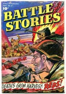 Battle Stories #6 1952- Fawcett War comic- Deaths Grim Harvest Reds!!!