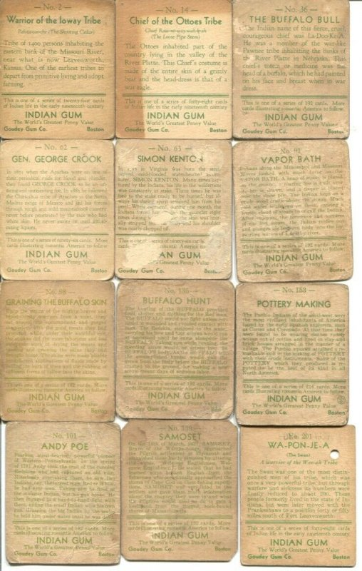 Indian Chewing Gum Card Lot of 12-Goudey Gum Co.-used-P