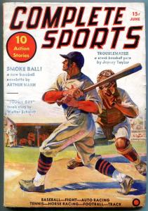 Complete Sports Pulp June 1937- Arthur Mann- Walter Schmidt- Baseball cover VG+