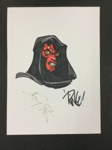 Mike Weiringo Darth Maul Sketch Signed By Ringo & Ray PARK!