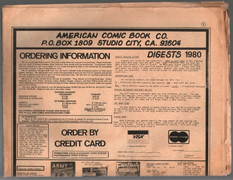 American Comic Book Co Pulp/Digest Catalog 1980-newspaper-folded-12 pages-VF