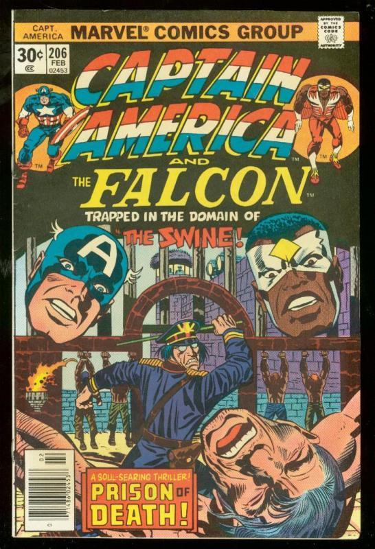 CAPTAIN AMERICA #206 1977-FALCON-JACK KIRBY-GREAT FN/VF