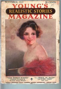 YOUNG'S REALISTIC STORIES MAGAZINE NOV 1923-RARE PULP G/VG