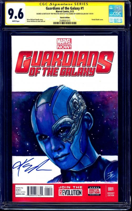 Guardians of the Galaxy #1 BLANK CGC SS 9.6 Nebula PAINTED SKETCH signed Gillan