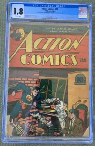 Action Comics #32 (1941) CGC 1.8 -- 1st Krypto Ray Gun! Jerry Seigel Gardner Fox