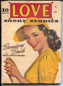Love Short Stories 7/1942-pin-up girl with tennis racket-spicy pulp thrills-VG