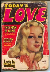 Today's Love 6/1954-Columbia-Pin-up Girl portrait  cover-Pulp stories by Dori...