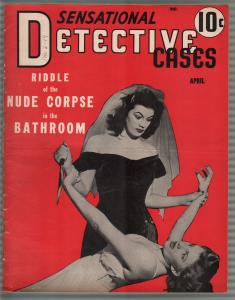 Sensational Detective Cases 4/1942- girl fight cover-morbid violent pulp-VG