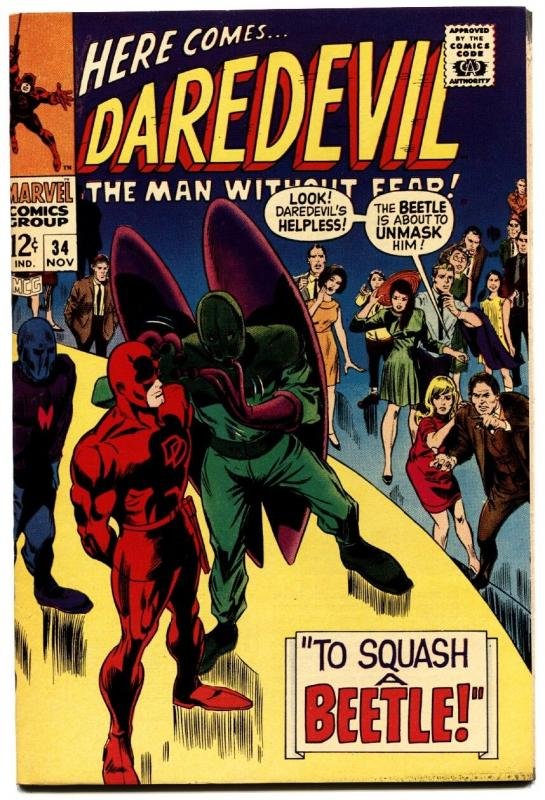DAREDEVIL #34 1967-MARVEL COMICS-BEETLE-GENE COLAN- VF/NM