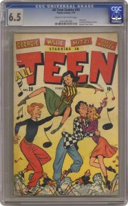 VTG 1947 All Teen Comics #20 Only CGC 6.5 FN+ Issue Formerly All Winners Cracked