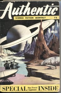 AUTHENTIC SCIENCE FICTION MONTHLY #53--JAN 1955--RINGS OF SATURN-UK PULP THRILLS