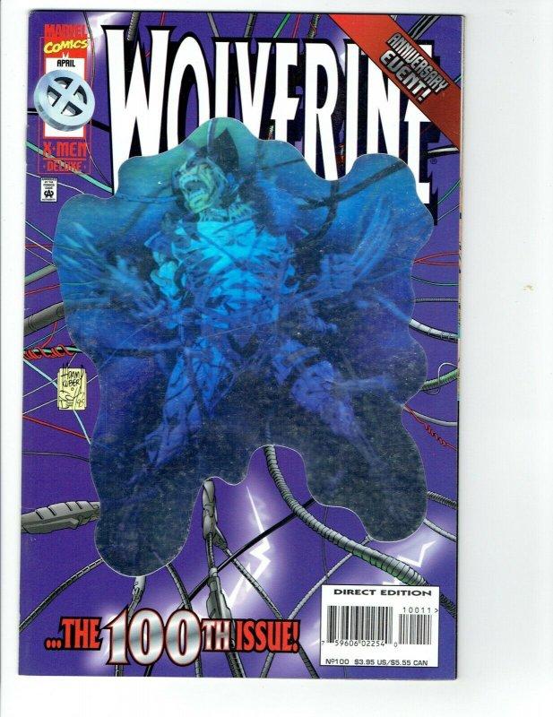 Wolverine #100 Deluxe (1996) VF/NM Marvel Foil Hologram Cover Anniversary