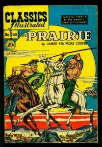 Classics Illustrated #58 HRN 60- The Prairie- James Fenimore Cooper- VG