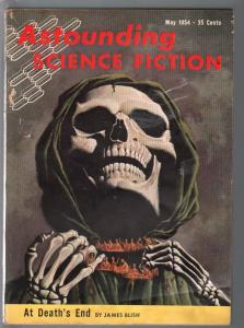 Astounding Science Fiction 5/1954-skull cover-Kelly Freas-James Bish-VG