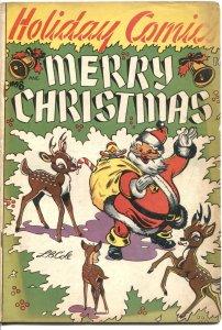 HOLIDAY COMICS #8 1952--L B COLE-MERRY CHRISTMAS-SANTA CLAUS-BAMBI-PUZZLES-- VG-
