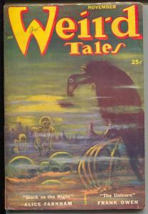Weird Tales 11/1952-skeletons-skulls-Seabury Quinn-horror-pulp fiction-FN-