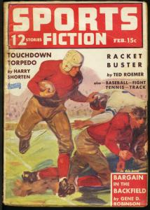 Sports Fiction Pulp February 1940- Football cover- Harry Shorten- Roemer VG
