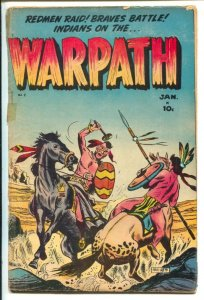 Warpath #2 1955-Key-Indian fight cover-Indian lore-rituals-battles-Historic p...