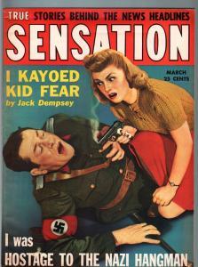 SENSATION PULP-JAN 1943-JACK DEMPSEY-NAZI HANGMAN-WW II-EXPLOITATION VF