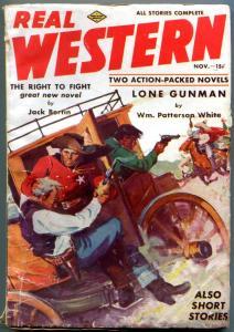 Real Western Pulp November 1937- Lone Gunman- Sam Houston- Jack Berfin VG/F