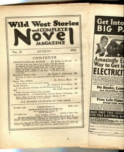 Wild West Stories & Complete Novel Pulp August 1931- coverless