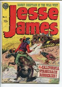 JESSE JAMES #3-1951-GREAT COVER-GOLDEN AGE-KUBERT VG/FN