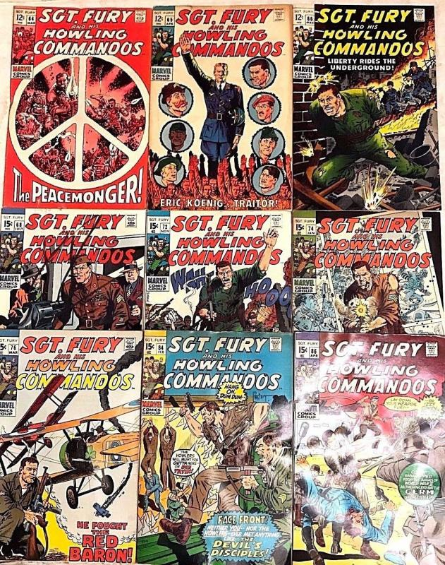 SGT. FURY#64-86 VG-VF LOT 1969-71 (9 BOOKS) MARVEL BRONZE AGE COMICS