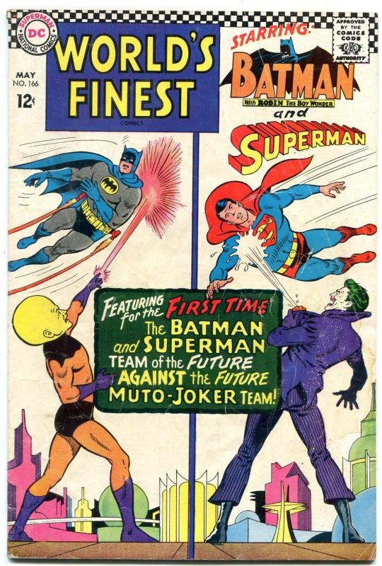 WORLDS FINEST #166 1966-DC COMICS-BATMAN-SUPERMAN-JOKER FR/G