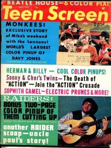 Teen Screen 5/1967-Continental-Beatles-Dick Clark-Monkees-Electric Prunes-VG