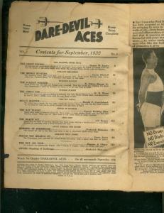 DARE-DEVIL ACES PULP- SEPT 1932-BARGAIN READING COPY- P