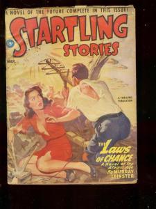 STARTLING STORIES MARCH 1947 ATOMIC AGE ART BY BELARSKI VG