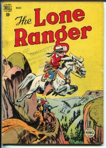 Lone Ranger #9 1949-Dell-Silver jumps canyon cover-VG