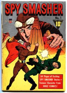 SPY SMASHER #1-1941-FAWCETT WWII-SILVER METALLIC COVER  VG