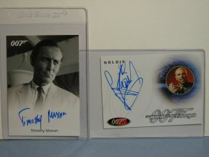 Two Rittenhouse JAMES BOND 007 Collector Cards AUTOGRAPHS TIMOTHY MIXON GOLDIE