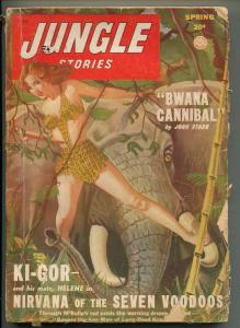 JUNGLE STORIES-SPRING 1949-SPICY JUNGLE GIRL ART-KI-GOR-good