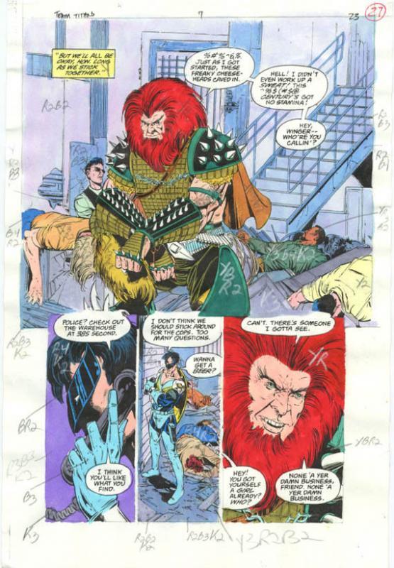 Original D.C. Color Guide Team Titans #7 Pg 23 Phil Jiminez VG