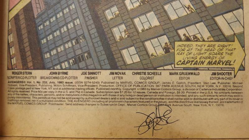 Avengers Issue #233 Autographed Old School Style by John Byrne