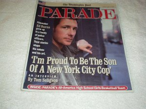 Parade Magazine April 2002 ED BURNS, Bernadette Peters, Ann Strother, Cartoons +