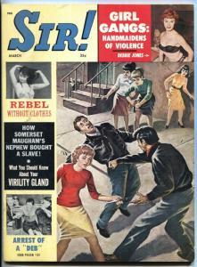 Sir! Magazine 3/1962-Cheesecake-Girl Gangs!-GANG FIGHT COVER