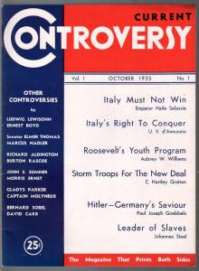 Current Controversy #1 10/1935-Magazine That Prints Both Sides-Hitler-BF+