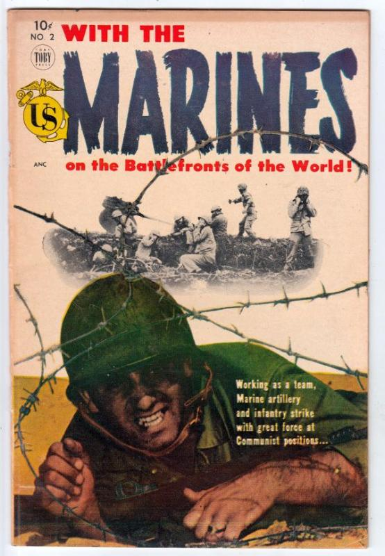With The Marines on the Battlefronts of the World #2 (Mar-54) VF High-Grade M...
