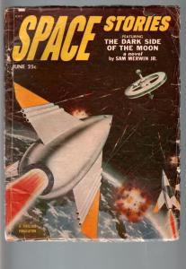 SPACE STORIES 1953 JUN-ROCKET COVER-COOL!-SCI FI PULP VG