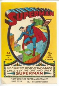 Superman #1 First Issue 1939 Post Card 1972-DC-reproduces cover-VF