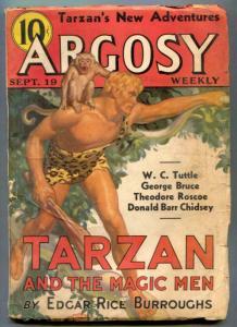Argosy Pulp September 19 1936- TARZAN AND THE MAGIC MEN vg
