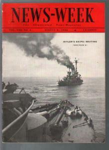 Newsweek 8/8/1936-Hitler-s war ships-Jews vs Nazi's-pix-FN