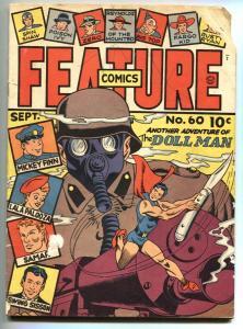 Feature Comics #60 1942 1941- DOLLMAN- Gasmask cover
